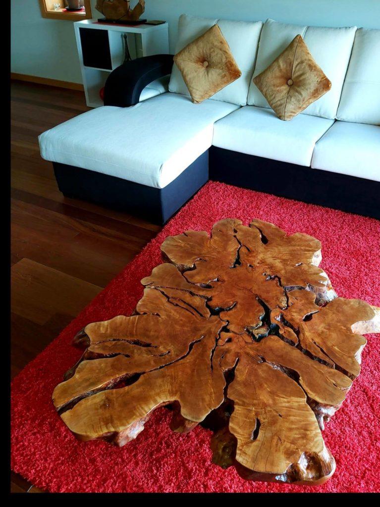 Mesa de centro em Madeira de Litchi, Papiro Wood