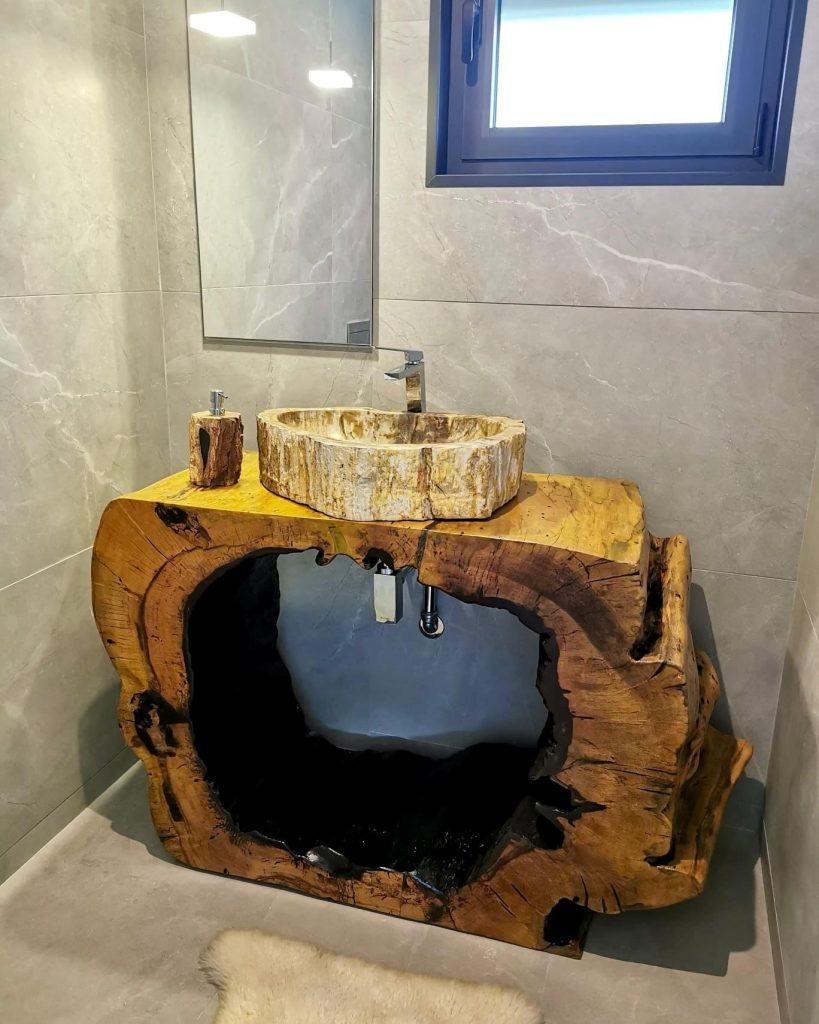Móvel de WC em Tamarindo tropical & Pia em Madeira Petrificada, Papiro Wood